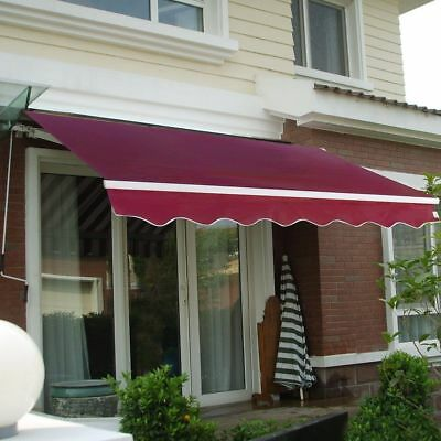 Manual Patio Awning Canopy Retractable Deck Door Outdoor Sun Shade Shelter & PATIO AWNING Canopy Retractable Deck Door Outdoor Sun Shade ...
