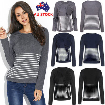 Women Striped Maternity Nursing Breastfeeding Tops Pregnancy Blouse Pullover