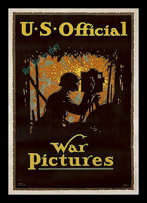 1917 ☆ U.s. Official War Pictures ☆ Stone Litho Movie Poster ☆ Louis Fancher Art