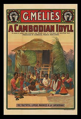 A CAMBODIAN IDYLL ☆ G Méliès ☆ 9/25/1913 DATED STONE LITHO 1-SHEET ☆ ONLY KNOWN!