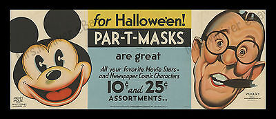 1933 MICKEY MOUSE POSTER >and PAR-T-MASK! 1-of-a-kind WALT DISNEY STORE DISPLAY!