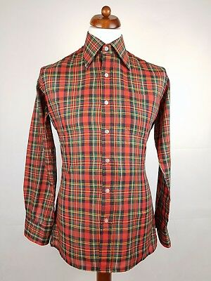 "Vtg 1970s Red / Green Tartan Polycotton Shirt Mod Skin -15.5""/M- ET97"