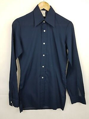 "Vtg 1970s Dark Blue Long Sleeve French Polycotton Shirt Mod Disco -14""/XS- ET98"
