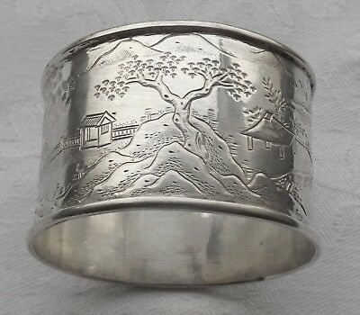 White Metal Or Plated Napkin Ring With Willow Pattern Decoration