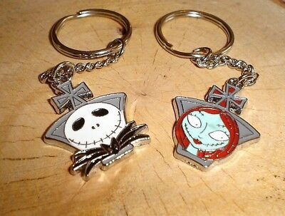 Nightmare Before Christmas Jack & Sally 2 Keyring Gothic Lovers Couples Keychain