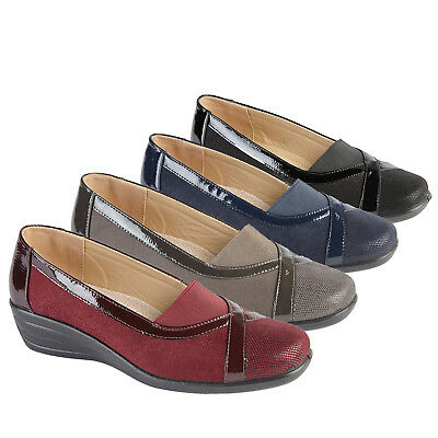 Ladies Slip on Comfort Shoes Mid Wedge Heel Casual Pumps Womens Size 3 4 5 6 7 8