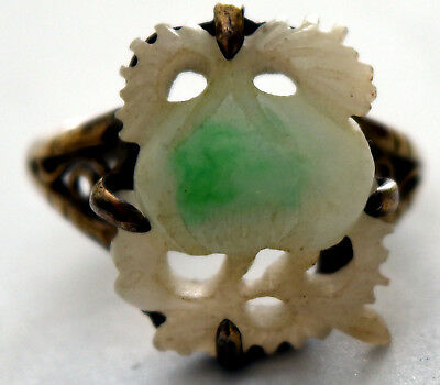 Vintage Chinese Hand Carved Jade and Silver Ring Size 7