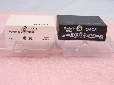 Set of 2 Different NEW Potter Brumfield & Opto 22 Input/Output Modules OAC5 IDC5
