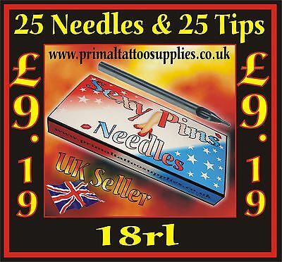 25 Tattoo Needles 18 RL + 25 Disposable Long Tips 18R - (Tattoo Supplies - Inks)