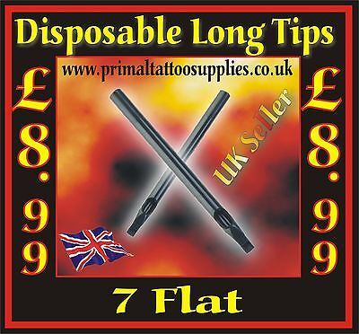 50 Disposable Tips 7 Flat   -  (Tattoo Supplies - Grips - Inks - Tattoo Needles)