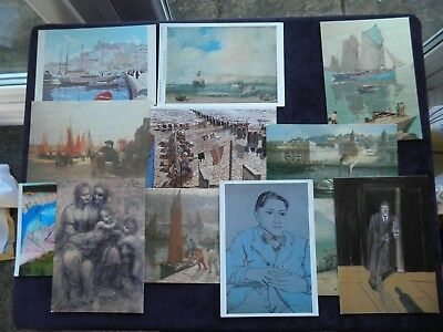 12 Assorted Art Postcards, Lucian Freud Francis Bacon, Terrick Williams, Spencer