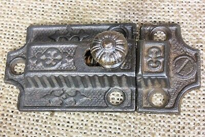 Cabinet catch Cupboard Latch BRASS knob primitive cast iron vintage rustic 1870s