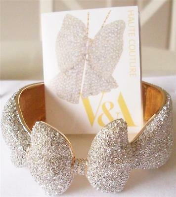 V&a - The Victoria And Albert Museum, Clear Crystal Bow Bracelet Bangle Rrp £285