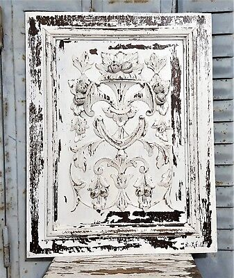 Shabby Hand Carved Wood Panel Antique French Farmhouse Country Style Carving 2