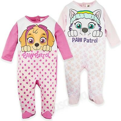 Paw Patrol Baby Babies Girls 100% Cotton Sleepsuit Babygrow Pyjamas pjs Disney