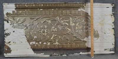 pressed tin panel large architectural  chippy paint  trim antique original