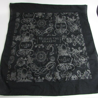 "The Kraken Black Spiced Rum Release the Kraken Bandana Octopus 19 1/4"" x 21"" EUC"