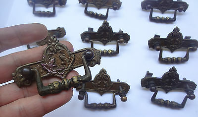 Vintage Solid Brass Pull handles + Back plates NOS # 9 Available