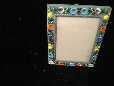 "Antique Italian micro mosaic miniature easel picture frame 2.75"" fruit rect."