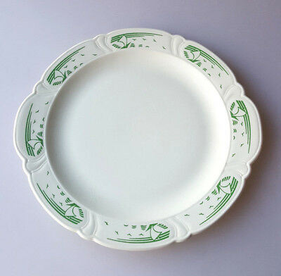 Taylor Smith Taylor Art Deco cake plate round platter green stylized ships