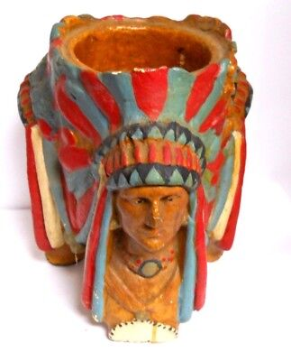 Vintage Hand Painted Heavy Ceramic Folk Art Indian Chief Planter