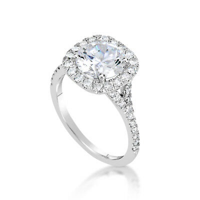 2.80 Ct Round Cut F/vs2 Diamond Solitaire Engagement Ring 14K White Gold
