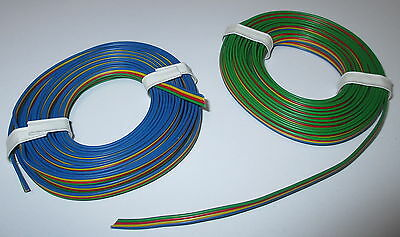 [1m = Four of a kind wire 2x5M BLUE YELLOW Red-Green Flat Band Cable NEW