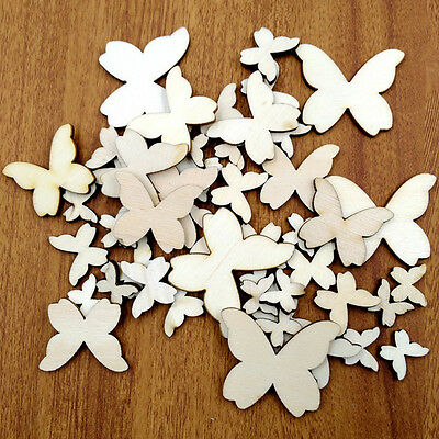 50x Mixed Size Butterflies MDF Wooden Shape Craft Embellishments Wood HOT SELL