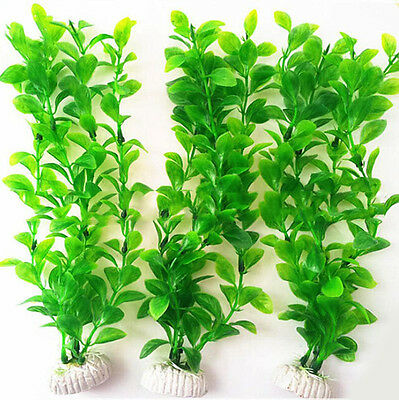 "10.6"" Height Green Plastic Artificial Water Plants For Aquarium Fish Tank UKPL"