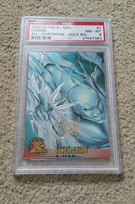 1995 Ultra X-Men Iceman All Chromium Gold Signature Trading Card,  Psa 8