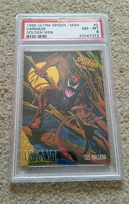 1995 Ultra Spider-Man Carnage Golden Web Trading Card,  Psa 8