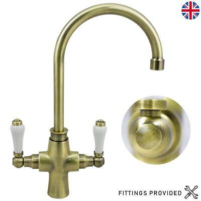 Antique Brass Traditional Kitchen Sink Mixer Tap Twin Ceramic Lever Swivel Spout