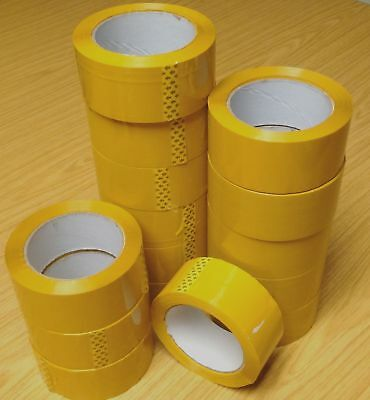 Quality Strong Yellow Tape 48mm x 91m 100Yard Parcel Packing Packaging sellotape