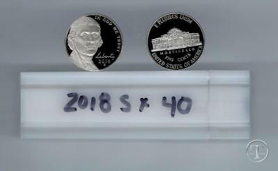 2018 S PROOF Jefferson Nickel ROLL- FORTY COINS-GEM PROOF