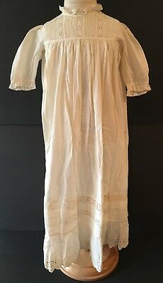 Vintage Victorian White Cotton Long Christening Gown Dress W/ Eyelets
