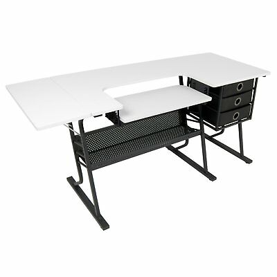 Studio Designs Eclipse Hobby Sewing Arts & Crafts Center Table, Black & White