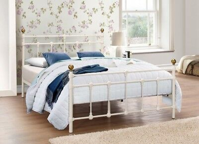 Traditional Atlas 4ft6 Double Metal Bed Frame Cream Antique Brass Finials