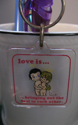 Vintage LOVE IS Kim Casali lucite keychain Bringing out the best in each other
