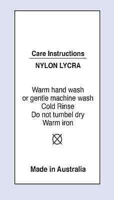 Nylon /Lycra Warm Hand Wash Sewing Washing Care Label on Soft Satin 5 Pack Sizes