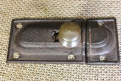 Cabinet catch Cupboard Latch old antique 1850's brass knob rustic cast iron 3""