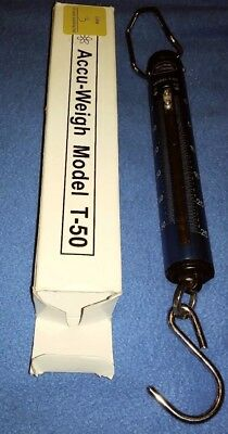 50lbs Accu-Weigh Yamato Hanging Tube Spring Scale Model T-50 Lbs