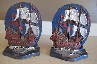 ANTIQUE Bookends Cast Iron Ship on Water Nautical Vintage Boat Sailing