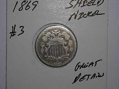 1869 Shield Nickel Semi-Key Date 5 Cent 1869-P Lot #3 With Cents Great Details
