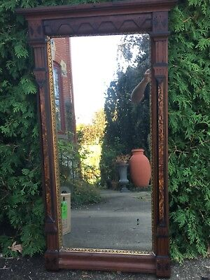 Antique Carved Victorian Walnut Hall Pier Mirror Architectural Salvage