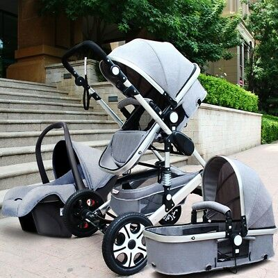 Baby Pram Buggy Stroller 3 in1 Pushchair Car Seat Carrycot Travel System,. Smtp