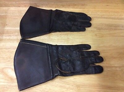 Vintage Wwii German Gauntlet Motorcycle Brown Leather Gloves - 1942