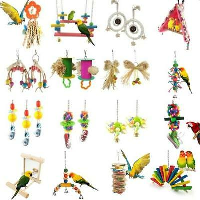 Parrot Pets Bird Chew Cages Hang Toys Wood Large Rope Cave Ladder Bells Ch Uskt