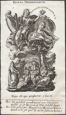 Original Rococo Engraving Holy Card 18th St. Mary Queen of Prophets Klauber