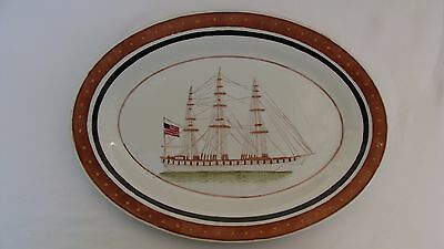 Early 20Th Century Chinese Export Porcelain Platter Sailing Ship #13