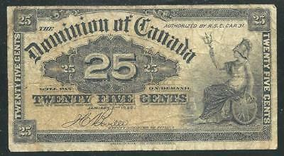 Canada Dominion 1900 25 Cent Banknote # 4136  Low Price & $1.00 Usa Ship